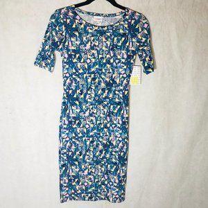 LuLaRoe Julia dress short sleeve  geometric blue &